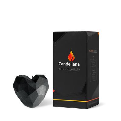 Candellana - Heart Low Poly, świeca dekoracyjna czarna