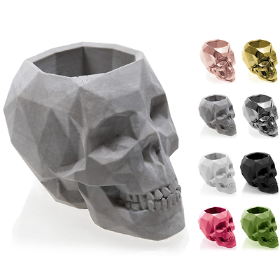 Concrette - Flowerpot Skull Small, doniczka/osłonka betonowa naturalny beton