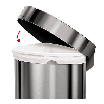 simplehuman - Kosz na śmieci pedałowy półokrągły 45 l