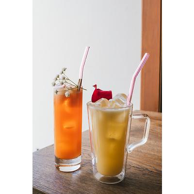 Vialli Design - Słomki szklane, zakrzywione różowe, 6 szt.
