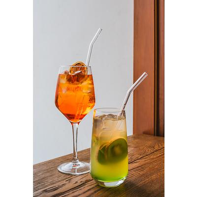 Vialli Design - Słomki szklane, zakrzywione transparentne ,6 szt.