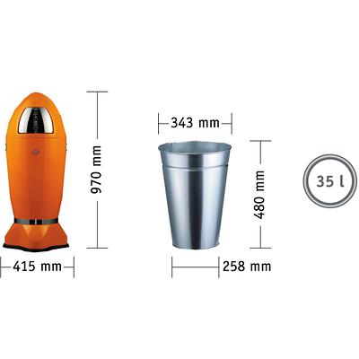 Wesco - Spaceboy kosz na śmieci, ciepły szary