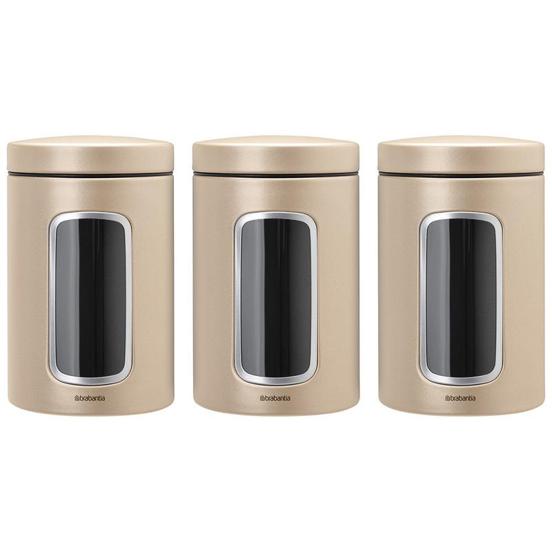 Brabantia - Zestaw pojemników do przechowywania z okienkiem, szampański