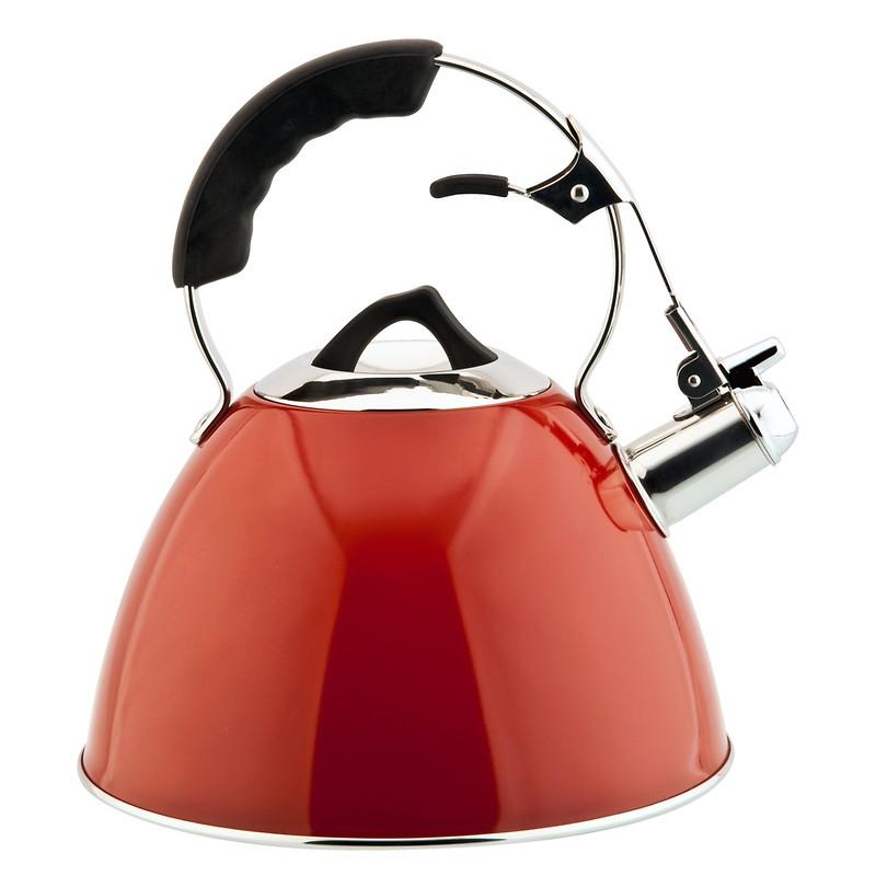 Carl Schmidt Sohn - Aquatic Czajnik stalowy z gwizdkiem, emaliowany czerwony