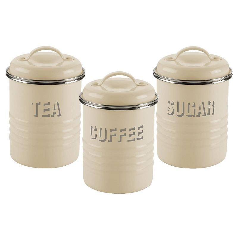 Typhoon - Vintage Kitchen Zestaw 3 pojemników do kawy, herbaty i cukru kremowy