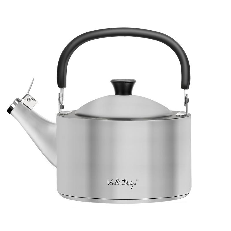 Vialli Design - Diamante czajnik z gwizdkiem, stalowy matowy