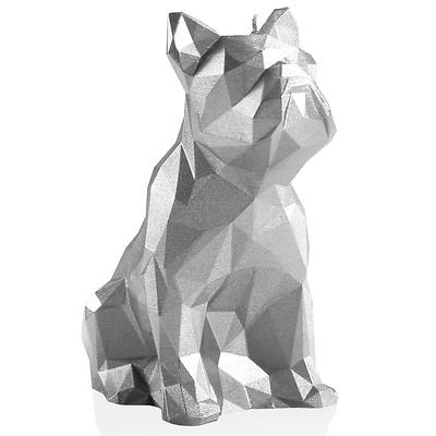 Candellana - Bulldog Low Poly, świeca dekoracyjna srebrna