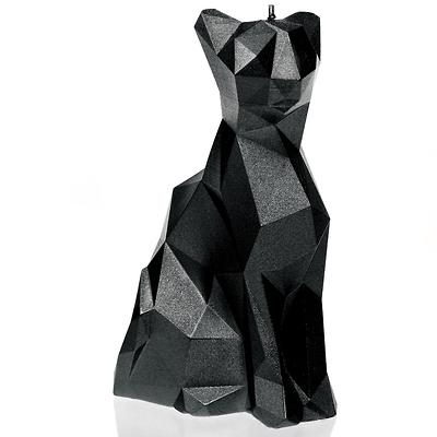 Candellana - Cat Low Poly, świeca dekoracyjna czarna
