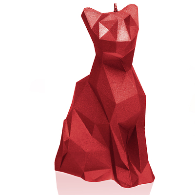 Candellana - Cat Low Poly, świeca dekoracyjna czerwona