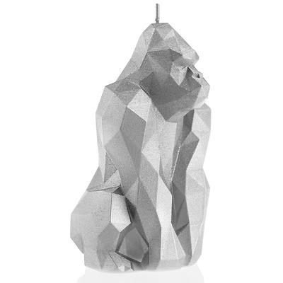 Candellana - Gorilla Low Poly, świeca dekoracyjna srebrna