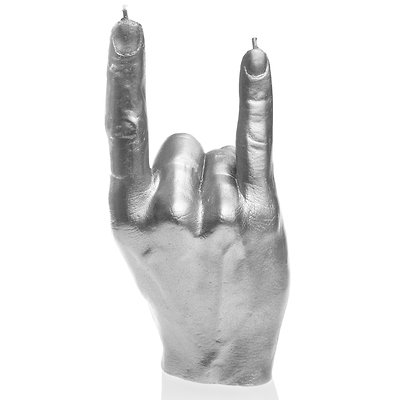 Candellana - Hand RCK, świeca dekoracyjna srebrna