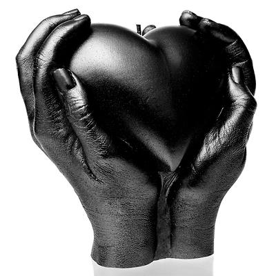 Candellana - Heart in Hands, świeca dekoracyjna czarna