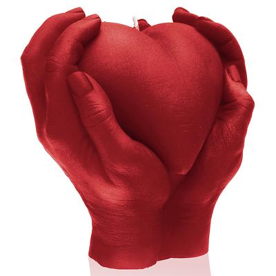 Candellana - Heart in Hands, świeca dekoracyjna czerwona