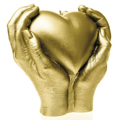 Candellana - Heart in Hands, świeca dekoracyjna złota