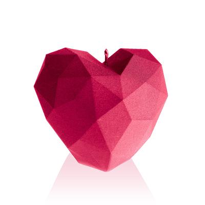 Candellana - Heart Low Poly, świeca dekoracyjna różowa