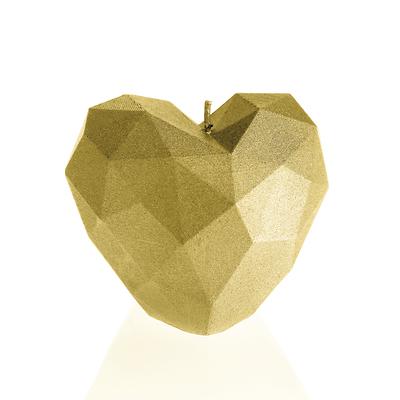 Candellana - Heart Low Poly, świeca dekoracyjna złota