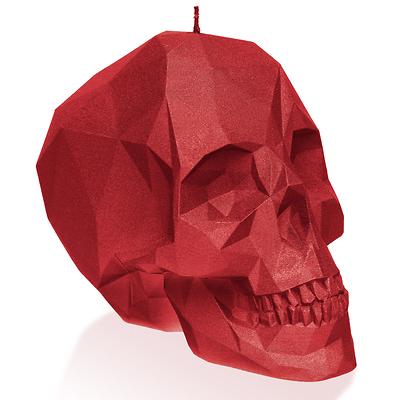 Candellana - Skull Low Poly Small, świeca dekoracyjna czerwona