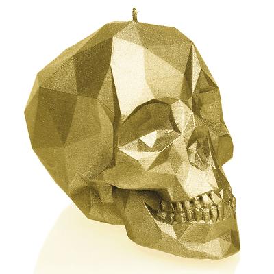 Candellana - Skull Low Poly Small, świeca dekoracyjna złota