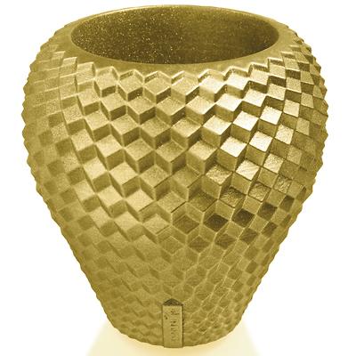 Concrette - Flowerpot Cone Large, doniczka/osłonka betonowa złota