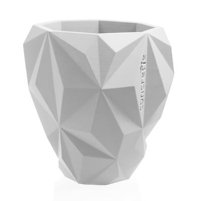 Concrette - Flowerpot Geometric Xlarge, doniczka/osłonka betonowa biała
