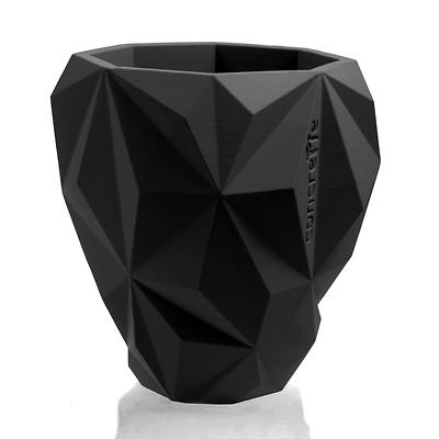 Concrette - Flowerpot Geometric Xlarge, doniczka/osłonka betonowa czarna