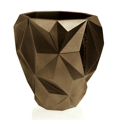 Concrette - Flowerpot Geometric Xlarge, doniczka/osłonka betonowa mosiężna