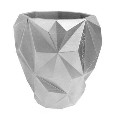 Concrette - Flowerpot Geometric Xlarge, doniczka/osłonka betonowa srebrna