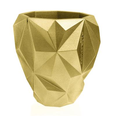 Concrette - Flowerpot Geometric Xlarge, doniczka/osłonka betonowa złota