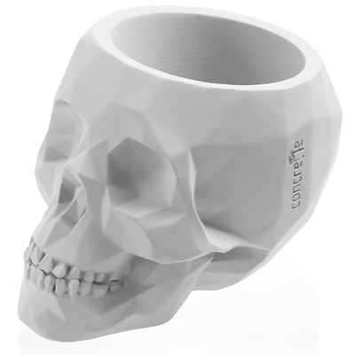 Concrette - Flowerpot Skull Large, doniczka/osłonka betonowa biała