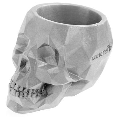 Concrette - Flowerpot Skull Large, doniczka/osłonka betonowa srebrna