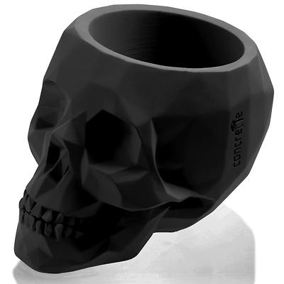 Concrette - Flowerpot Skull Medium, doniczka/osłonka betonowa czarny mat