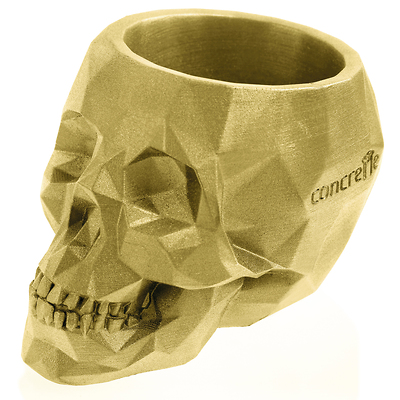 Concrette - Flowerpot Skull Medium, doniczka/osłonka betonowa złota