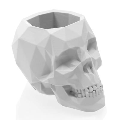 Concrette - Flowerpot Skull Small, doniczka/osłonka betonowa biała