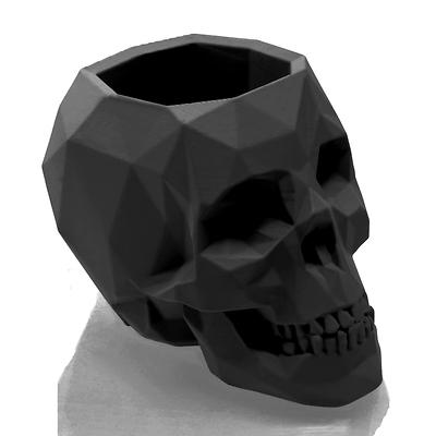 Concrette - Flowerpot Skull Small, doniczka/osłonka betonowa czarny mat