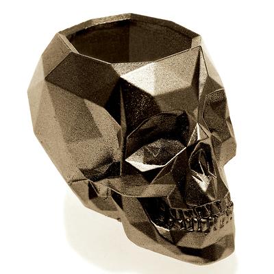 Concrette - Flowerpot Skull Small, doniczka/osłonka betonowa mosiężna