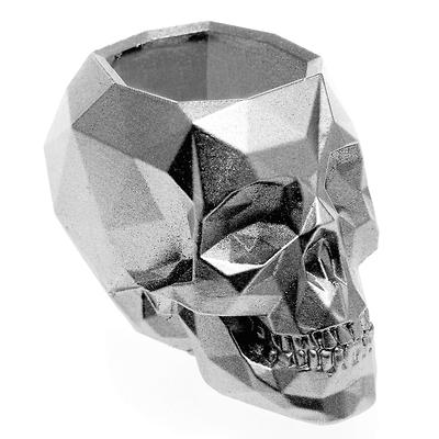 Concrette - Flowerpot Skull Small, doniczka/osłonka betonowa srebrna