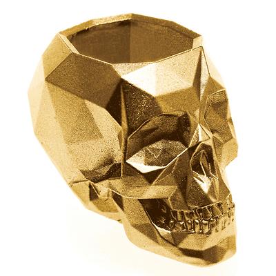 Concrette - Flowerpot Skull Small, doniczka/osłonka betonowa złota