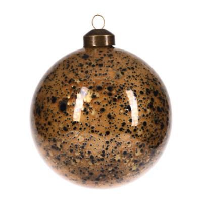 MilooHome - Bombka okrągła złota w czarne kropki