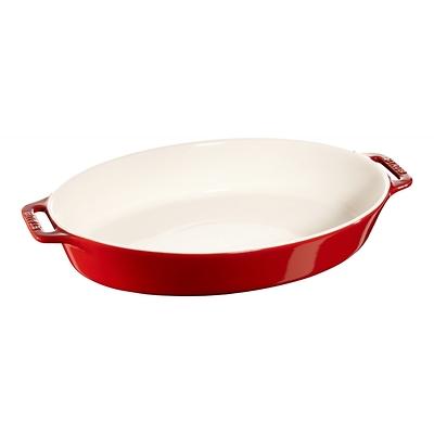 Staub -owalny półmisek ceramiczny, czerwony