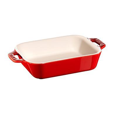 Staub -prostokątny półmisek ceramiczny, czerwony