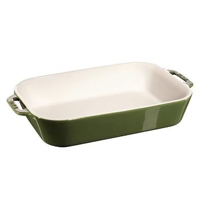Staub -prostokątny półmisek ceramiczny, zielony