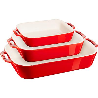 Staub - Zestaw 3 półmisków prostokątnych, czerwony