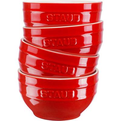 Staub - Zestaw 4 ceramicznych misek, czerwonych