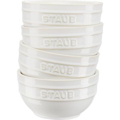 Staub - Zestaw 4 ceramicznych misek, kość słoniowa