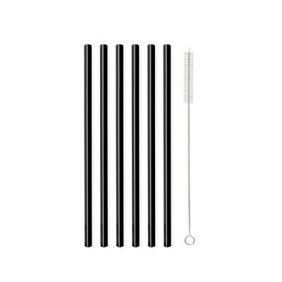 Vialli Design - Słomki szklane czarne,6 szt.