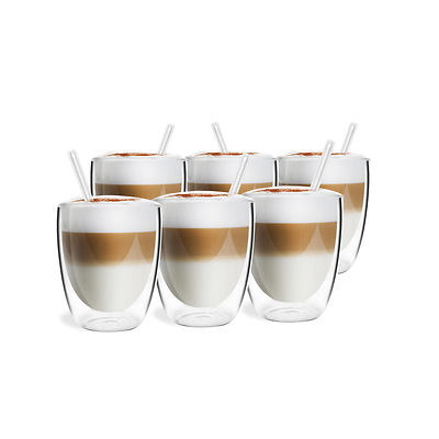 Vialli Design - Vita Zestaw 6 szklanek z podwójną ścianką ze słomkami
