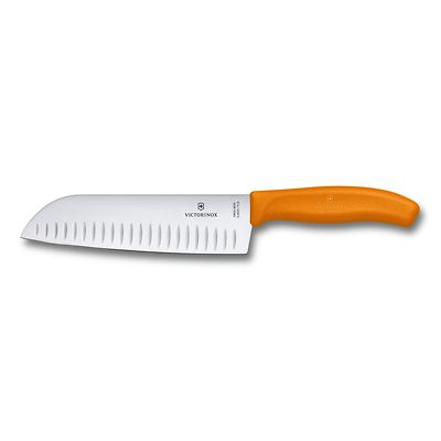 Victorinox - Swiss Classic Nóż Santoku ryflowane ostrze 17 cm pomarańczowy