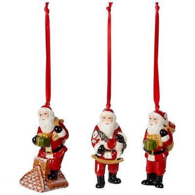 Villeroy & Boch - Nostalgic Ornaments Komplet 3 zawieszek św. Mikołaj