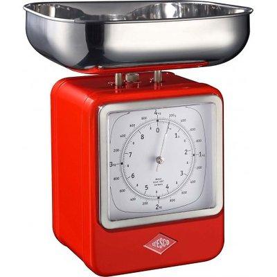 Wesco - waga kuchenna z zegarem, czerwona