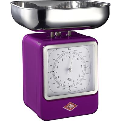 Wesco - waga kuchenna z zegarem, fioletowa